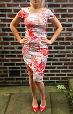Vintage Satin Floral Cocktail Dress Size 10 Indie Pin Up Rockabilly Wedding