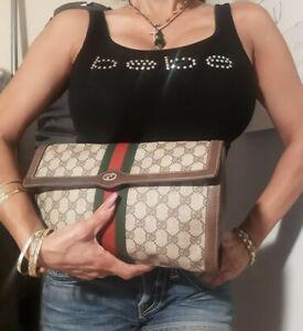 Auth. vintage Gucci monogram GG sherry monogram leather purse clutch pls read