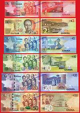 GHANA FULL SET 1 5 10 20 50 Cedis 2015 (2016) Pick New  SC / UNC