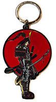 Japanese Warrior Samurai with Bloody Sword Enamel Metal Ring Key Chain Keychain
