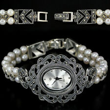 Sterling Silver 925 Antique Design Button Pearl and Marcasite Watch 6.75 Inches