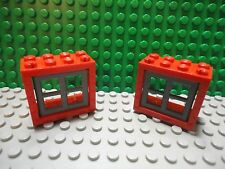 Lego 2 Red vintage window frame with dark gray panes