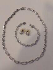 Wedding Bridal Jewelry Sets 925 Silver Crystal Necklace Earrings Bracelet
