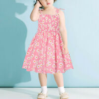 Toddler Baby Kids Girls Daisy Print Sleeveless Backless Floral Dress Outfits