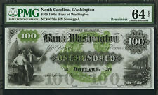 1860s $100 North Carolina Obsolete Bank of Washington PMG 64 EPQ Proof