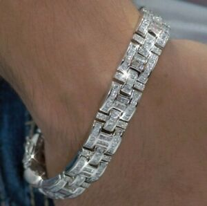 Men's Real Solid Sterling Silver .925 Iced CZ Stones Hip Hop Bracelet 8 9 Inches