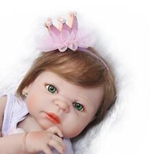 "Anatomically Correct Girl Doll Reborn Baby Doll Fiber Hair 23"" 55cm Newborn Size"