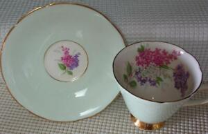 Old Royal Bone China TEA CUP & SAUCER PALE GREEN & Purple Pink White FLORAL EUC