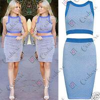 Womens Summer Celeb Two Piece Crop Top Bodycon Skirt Boutique Ladies Dress Set