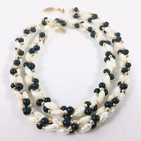 Vintage Freshwater Seed Pearl Necklace Double Twist Strand Gold & Black Beads