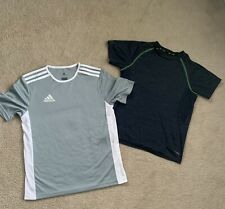 Lot of 2 Boys adidas and DryTek shirt size L Gray and Blue