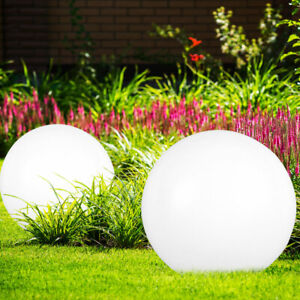 2er Set LED Solar Kugeln Erdspieß Garten Beleuchtung Außen Steck Lampen Terrasse