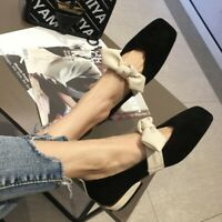 Womens Suede Square toe Slip on Bowknot Decor Casual Shoes Loafers Fashion Pumps