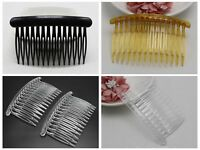 12 Plastic Hair Clips Side Combs Pin Barrettes 80X50mm Black Coffee Coffee Craft
