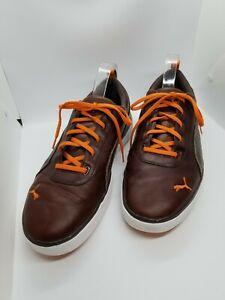 Men's PUMA Size 13 Leather Sneaker Tennis Shoes Sport Lifestyle Burgundy/Orange