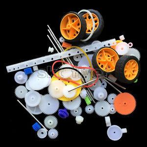 78pcs Plastic Motor Gears Shaft Wheel Belt Robotic Model Helicopter Toy Car Part