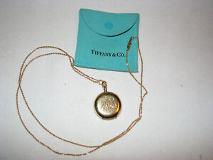 """Vintage TIFFANY & CO. 14K & 18K Solid Gold Pendant Watch & 30"""" Chain W/Pouch"""