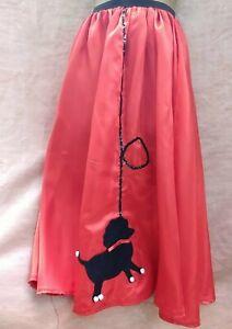 Red Satin Skirt Black Poodle Decoration Size S