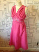 VINTAGE 60'S PINK EMBROIDERED FLORAL MOD MINI DRESS UK 8 SMALL