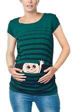 Winke Winke Baby - Witzige süße Umstandsmode gestreiftes Umstandsshirt | Kurzarm