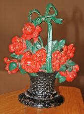 "Vintage Original Cast Iron Red Roses Country Flower Basket Door Stop 11"""