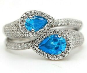 AAA Grade 2CT Aquamarine & Topaz 925 Solid Sterling Silver Ring Jewelry Sz 7, M9