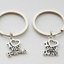 1Pair Love Heart Couple Key Chain Ring Keyfob Lover Gift Couples Keyring 2018