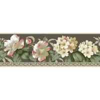 Wallpaper Border Cream Coral Pink Red Rhododendron Floral on Taupe With Molding