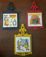 3 Vintage Ceramic Tile Cast Iron Hot Plate Trivet Cherry Japan Home Wall Decor