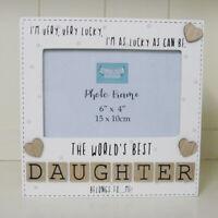 "Photo Frame The Worlds Best Daughter Tile Art Gift Wooden Cream 6x4"""