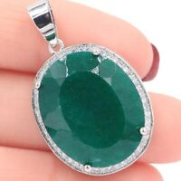 25x20mm Big Oval Gemstone 22x18mm Real Green Emerald White CZ 925 Silver Pendant