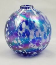 Italian Art Glass Christmas Ornament Blue White  Spatterware Hand Blown