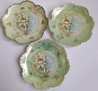 """3 Antique R C Rosenthal China Monbijou Bavaria Lotus 8"""" Porcelain Ruffled Plates"""