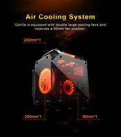 Coolman Gorilla Glass ATX Mid Tower Gaming Computer PC Case w/ 3 Color LED