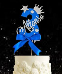 Personalised boys third birthday number three cake topper blue glitter 3rd boy 3