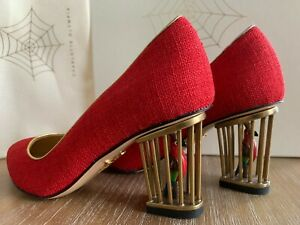 BRAND NEW CHARLOTTE OLYMPIA GRACA RED PUMPS GORGEOUS CAGE HEEL SIZE 5