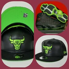New Era Chicago Bulls Black Faux Leather snapback hat Jordan 13 Altitude Green