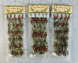 Bethany Lowe Designs Merry Christmas Garland Lot Of 3 Red Green Gold Bead