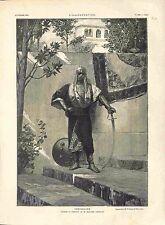 Janissaire en Uniforme Sabre Bouclier par Benjamin-Constant Turquie GRAVURE 1882