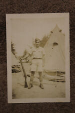 Original WW2 Photograph of a Canadian Army Soldier with Rifle & Tropical Uniform