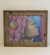 Cotton Candy Dream Original Surreal Mixed Media Drawing 11x14 Framed