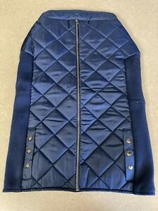 Top Paw Navy Blue Zippered Quilted and Ribbed Vest Jacket Size XL NWT
