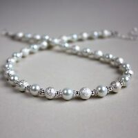 Silver stardust white pearl beaded collar choker necklace wedding bridal gift