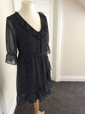 Pretty George Black And White Polka Dot Dress With Ruffle Detail, Size 12 - BNWT