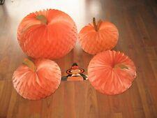 Bargain! 4 Large Vtg 1940'S Halloween Pumpkins, Orange Crepe Paper 1 Lot As Is