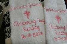 personalised bath towel, hand towel & face washer set CHRISTENING NAMING DAY ETC
