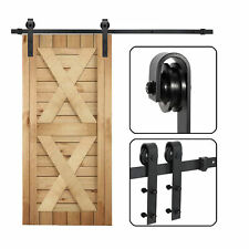 6.6Ft Sliding Barn Door Hardware Kit Black Modern Closet Hang Style Track Rail