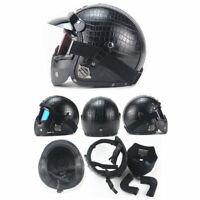 Black Leather Motorcycle Half Face Helmet Biker Pilot Goggles M L XL  3/4 Cover