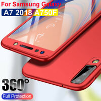 For Samsung Galaxy A7 2018 A750F 360° Cover PC + Tempered Glass Shockproof Case