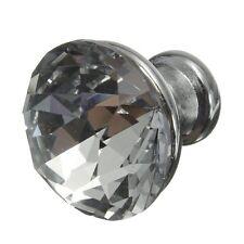 10pcs 25mm Crystal Glass Diamond Shape Cabinet Knob Drawer Pull Handle Silver HY